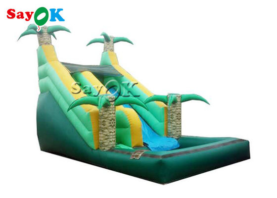 Fire Proof Jungle Palm Tree Inflatable Pool Slide For Toddler